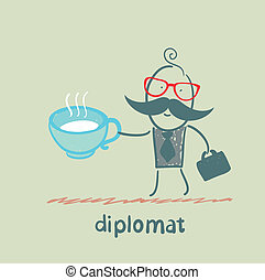 thé, diplomate, tasse