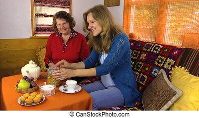thé, femme, après-midi, table