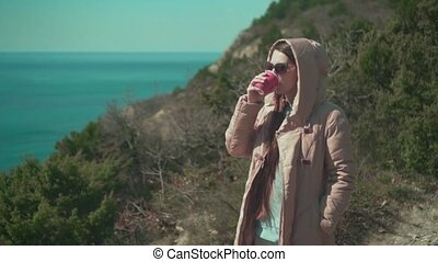 thé, femme, boissons, coffee., ou