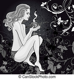 thé, femme, dessin, tasse