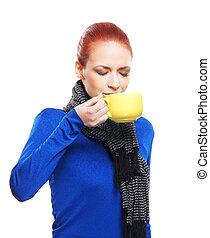 thé, femme, jeune, tasse