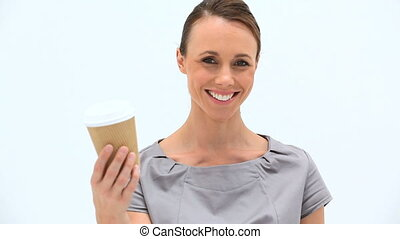 thé, femme souriante, avoirs entourent