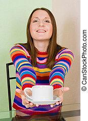 thé, femme, sugest, tasse