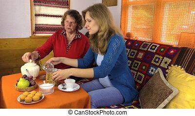 thé, femmes, boisson, aromate