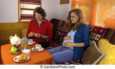 thé, femmes, manger, bonbons