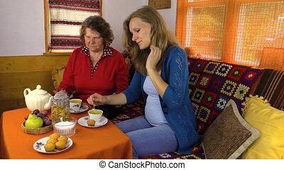 thé, femmes, temps