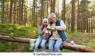 thé, forêt, petite-fille, grand-maman, boire