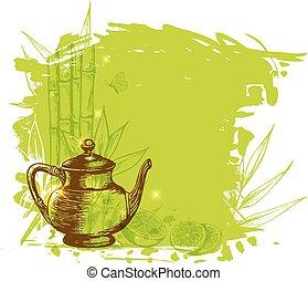 thé, fruit, vert