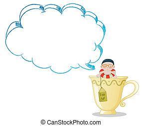 thé, garçon, jeune, grande tasse