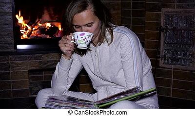 thé, girl, tasse