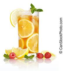 thé glace, à, citron