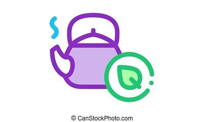 thé, herbier, icône, médicinal, animation