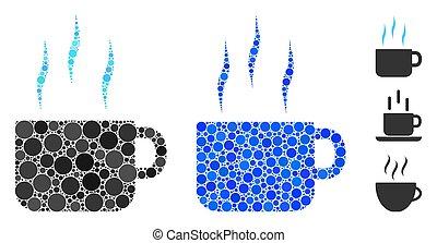 thé, icône, chaud, articles, spheric, tasse, mosaïque