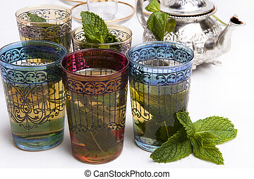 thé, marocain, menthe, traditionnel