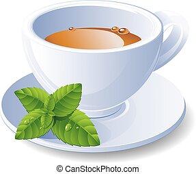 thé, menthe, tasse
