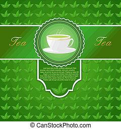 thé, menu, tasse