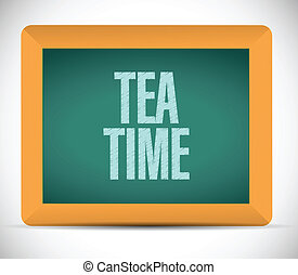 thé, message, conception, illustration, temps
