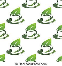 thé, modèle, vert, organique, seamless