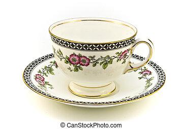 thé, modelé, tasse, floral