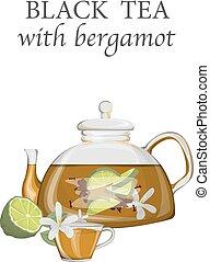 thé, noir, bergamote, théière