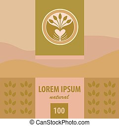 thé, plantation., labels., vecteur, logo, planting.