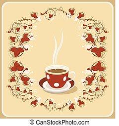 thé, retro, tasse