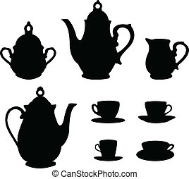 thé, silhouettes, ensemble, café, ou