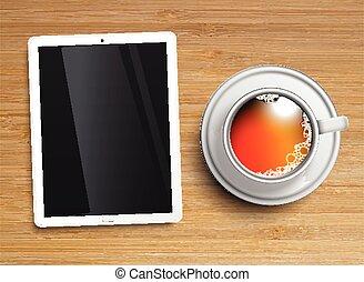 thé, tablette, tasse