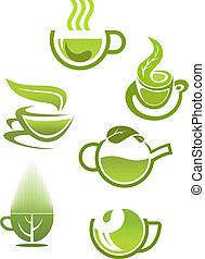 thé, tasses, vert