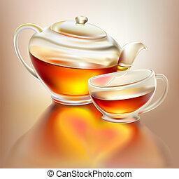 thé, théière, verre, tasse
