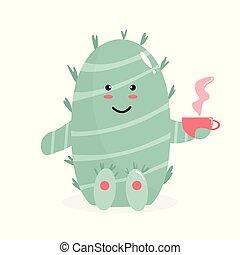 thé, vecteur, cactus, illustration, tasse