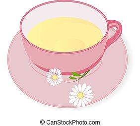 thé, vecteur, camomille, illustration, tasse