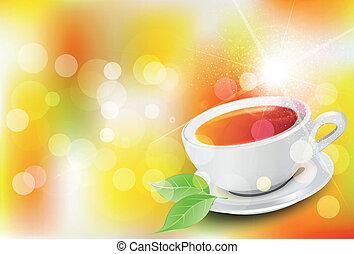 thé, vecteur, fond, tasse