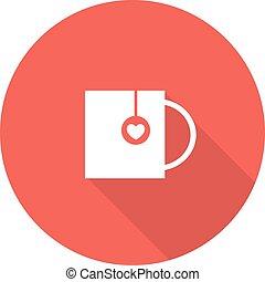 thé, vecteur, heart., illustration, tasse