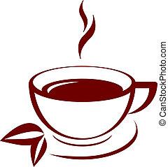 thé, vecteur, icône, tasse