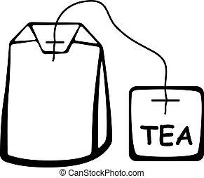 thé, vecteur, noir, sac, pictogramme