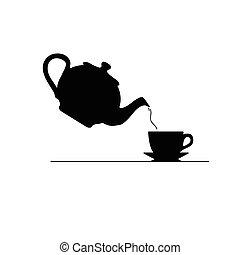 thé, vecteur, silhouette, icône