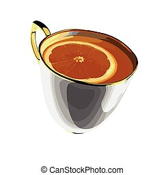 thé, vecteur, tasse