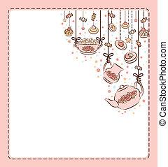 thé, vendange, ensemble, cakes., doux