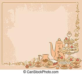 thé, vendange, gâteaux, ensemble, doux