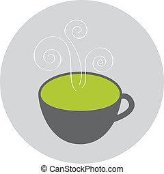 thé, vert, icône