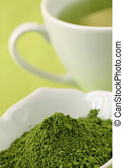 thé, vert, poudre, matcha