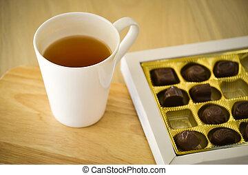 thé, vue, sweets., au-dessus, chocolat