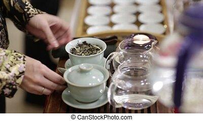 théière, cérémonie thé, gros plan