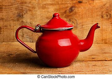 théière, table bois, rouges