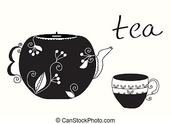 théière, thé, menu, fond, tasse