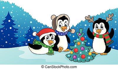 thématique, image, pingouins, noël, 3