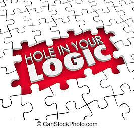 théorie, défectueux, faille, morceaux puzzle, mal, logique, ...
