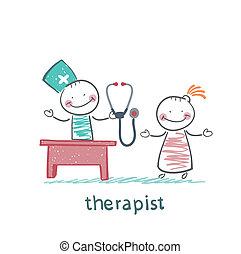 thérapeute, conversation, travail, patient