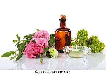 thérapeute, huile aromatique, -, masage